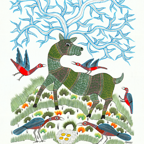 deer birds and tree of life, 25 x 35 inch, shailesh poddar,folk art paintings,paintings for living room,canvas,acrylic color,25x35inch,GAL035458500