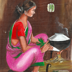 tribal woman cooking food, 18 x 23 inch, shailesh poddar,figurative paintings,paintings for dining room,canvas,acrylic color,18x23inch,GAL035458502