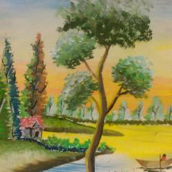 natural beauty, 10 x 13 inch, hirak deb nath,paintings,nature paintings,paintings for living room,renaissance watercolor paper,watercolor,10x13inch,GAL035998504Nature,environment,Beauty,scenery,greenery,house,trees,boat,sailing,water