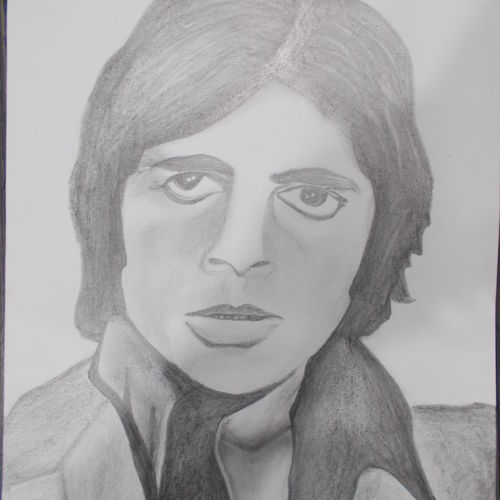 shahenshah of bollywood (mr.amitabh bachchan), 9 x 11 inch, kajal  sharma,drawings,figurative drawings,paintings for dining room,thick paper,charcoal,9x11inch,GAL035728511