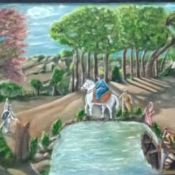 a farewell, 30 x 16 inch, satyanarayan bairagi,landscape paintings,paintings for dining room,canvas,oil,30x16inch,GAL036108514