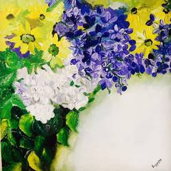 flower power , 18 x 18 inch, pragya  jain ,paintings,flower paintings,paintings for living room,canvas,acrylic color,18x18inch,GAL036148515
