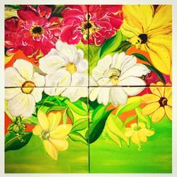multi canvas , 20 x 20 inch, pragya  jain ,paintings,flower paintings,paintings for living room,canvas,acrylic color,20x20inch,GAL036148516