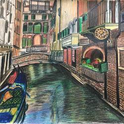 venice , 12 x 16 inch, deepthi kj,drawings,fine art drawings,paintings for living room,thick paper,pencil color,12x16inch,GAL036158518