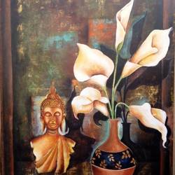 buddha -buddha and lily, 46 x 32 inch, arjun das,buddha paintings,paintings for living room,canvas,acrylic color,46x32inch,GAL0112852