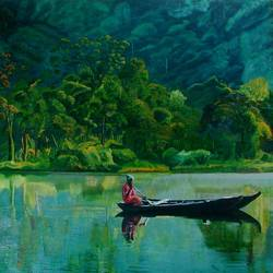 boatman, 36 x 30 inch, nitha sashi,paintings,landscape paintings,paintings for dining room,canvas board,oil,36x30inch,GAL036308538