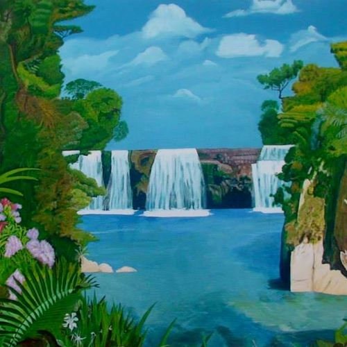 waterfall, 36 x 30 inch, nitha sashi,paintings,landscape paintings,paintings for bedroom,canvas board,oil,36x30inch,GAL036308540