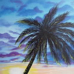 solitude, 12 x 16 inch, nafisa shaikh,paintings,nature paintings,paintings for bedroom,canvas,acrylic color,12x16inch,GAL030498541Nature,environment,Beauty,scenery,greenery,coconut tree,sky,water,blue