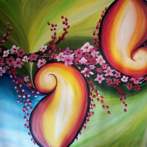 five elements of nature, 32 x 26 inch, nafisa shaikh,paintings,abstract paintings,paintings for living room,canvas,acrylic color,32x26inch,GAL030498542