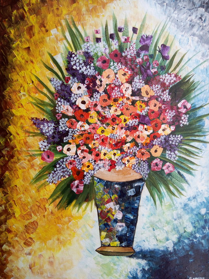 flower vase, 18 x 24 inch, nafisa shaikh,paintings for dining room,canvas,acrylic color,18x24inch,GAL030498543