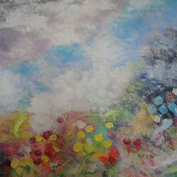 kaas pathar - abstract - valley of flowers, 24 x 32 inch, amita dand,paintings,abstract paintings,paintings for office,canvas,acrylic color,24x32inch,GAL014678547