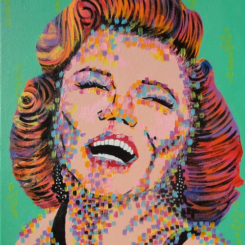 marilyn monroe - pop art, 16 x 20 inch, amita dand,paintings,abstract paintings,paintings for living room,canvas board,acrylic color,16x20inch,GAL014678548
