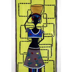 tribal lady - i, 20 x 34 inch, yutee gupta,paintings,folk art paintings,paintings for living room,paper,acrylic color,20x34inch,GAL033308553