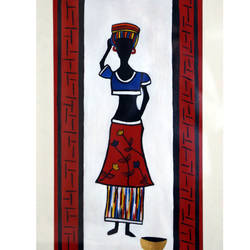 tribal lady - ii, 20 x 34 inch, yutee gupta,paintings,folk art paintings,paintings for living room,paper,acrylic color,20x34inch,GAL033308554