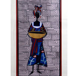 tribal lady - iii, 20 x 34 inch, yutee gupta,paintings,folk art paintings,paintings for bedroom,paper,acrylic color,20x34inch,GAL033308555