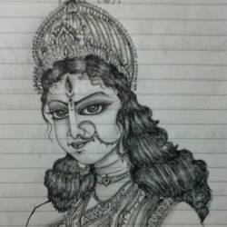 goddess durga, 6 x 6 inch, ujjwal paul,drawings,portrait drawings,paintings for living room,paper,pencil color,6x6inch,GAL036408556