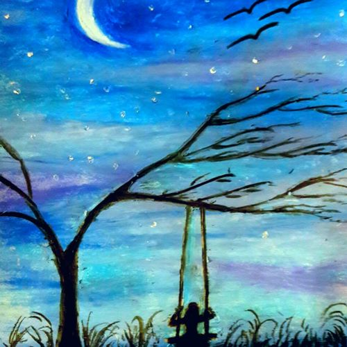 moonlight bliss, 11 x 15 inch, megha n,paintings,nature paintings,paintings for living room,thick paper,fabric,11x15inch,GAL036448573Nature,environment,Beauty,scenery,greenery,night,moon,moonlight,girl