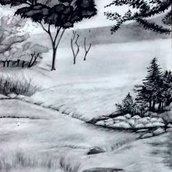pencil shade sketch, 11 x 15 inch, megha n,street art,paintings for bedroom,landscape paintings,thick paper,charcoal,11x15inch,GAL036448576