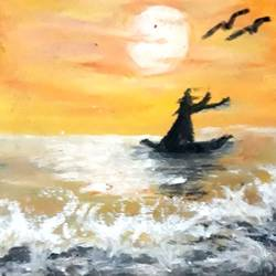 sunset point , 11 x 15 inch, megha n,paintings,nature paintings,paintings for living room,thick paper,pastel color,11x15inch,GAL036448578Nature,environment,Beauty,scenery,greenery,boat,water,waves,birds