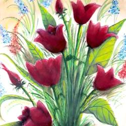 fresh rosy red tulips , 11 x 15 inch, megha n,paintings,flower paintings,paintings for bedroom,thick paper,pastel color,11x15inch,GAL036448590