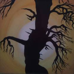 love tree , 9 x 11 inch, vishnu swarnkar,modern art paintings,paintings for bedroom,ivory sheet,watercolor,9x11inch,GAL036388596