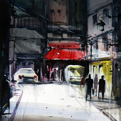 delhi street, 21 x 15 inch, sankar thakur,cityscape paintings,paintings for office,fabriano sheet,watercolor,21x15inch,GAL0786