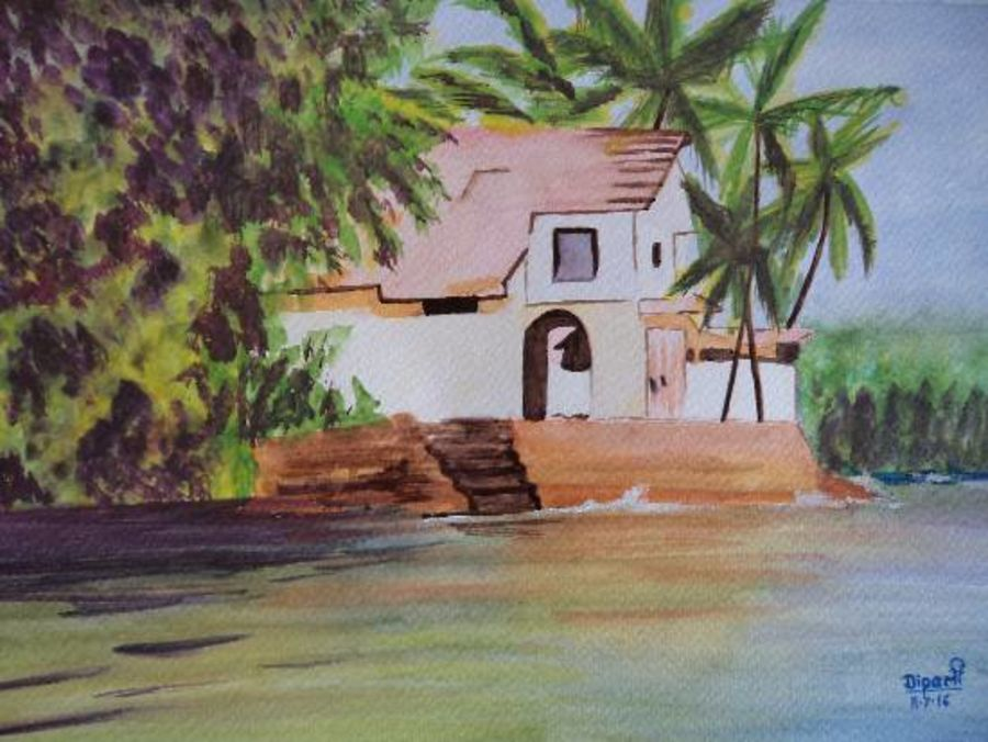 sea side villa in goa, 12 x 16 inch, dipali deshpande,landscape paintings,paintings for living room,thick paper,watercolor,12x16inch,GAL0163860