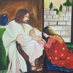 jesus blessing the girl, 22 x 15 inch, sandhya kumari,paintings,religious paintings,paintings for living room,handmade paper,watercolor,22x15inch,GAL036598600