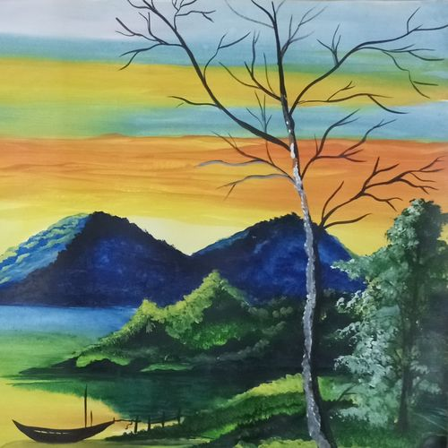 beautiful natural river and landscape, 22 x 14 inch, sandhya kumari,paintings,landscape paintings,paintings for living room,handmade paper,watercolor,22x14inch,GAL036598601