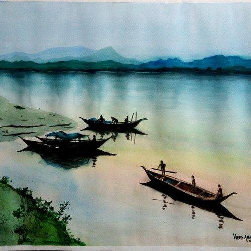 time to pack up, 19 x 15 inch, vivek anand,paintings,landscape paintings,paintings for living room,fabriano sheet,watercolor,19x15inch,GAL036608602