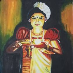 thiruvathira dance of beautiful south indian lady , 14 x 22 inch, sandhya kumari,paintings,modern art paintings,paintings for living room,handmade paper,watercolor,14x22inch,GAL036598603
