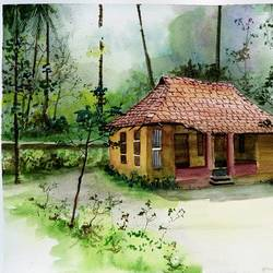forest house, 15 x 11 inch, vivek anand,paintings,landscape paintings,paintings for living room,brustro watercolor paper,watercolor,15x11inch,GAL036608605