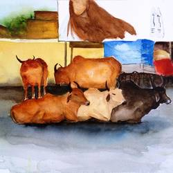 bulls on the road, 15 x 11 inch, vivek anand,paintings,figurative paintings,paintings for living room,brustro watercolor paper,watercolor,15x11inch,GAL036608606