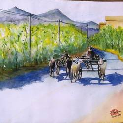 bullock cart race, 17 x 12 inch, vivek anand,paintings,landscape paintings,paintings for living room,handmade paper,watercolor,17x12inch,farmer,village,bull,bullock cart,GAL036608608