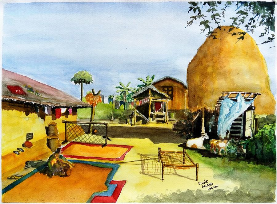 Buy Indian Village House Painting At Lowest Price By Vivek Anand