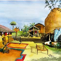 indian village house, 15 x 11 inch, vivek anand,paintings,landscape paintings,paintings for living room,brustro watercolor paper,watercolor,15x11inch,GAL036608610