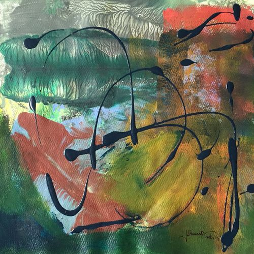 untitled, 11 x 11 inch,  shiva  kumar,paintings for living room,abstract paintings,canvas,acrylic color,11x11inch,GAL036468613