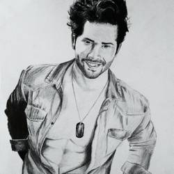 bollywood actor varun dhawan handmade sketch, 12 x 14 inch, akshay patil,drawings,portrait drawings,paintings for bedroom,drawing paper,graphite pencil,12x14inch,GAL036638618