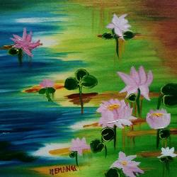 lotus in pond, 12 x 16 inch, hemangi gawand,paintings,flower paintings,paintings for living room,canvas,oil,12x16inch,GAL036668620