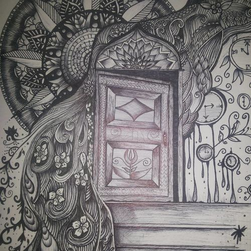 gateway to nirvana, 11 x 13 inch, bhavna verma,drawings,abstract drawings,paintings for living room,thick paper,ink color,11x13inch,GAL036678621
