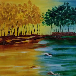 fusion - hot and cold, 20 x 24 inch, hemangi gawand,paintings,modern art paintings,paintings for office,canvas,oil,20x24inch,GAL036668622