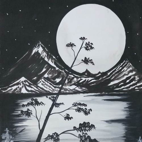 night landscape with moonlight , 14 x 22 inch, sandhya kumari,paintings,landscape paintings,paintings for living room,handmade paper,poster color,14x22inch,GAL036598629