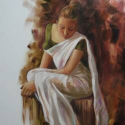 lady2 - handpainted art, 24 x 30 inch, mahesh  honule,figurative paintings,paintings for living room,canvas,oil,24x30inch,GAL0131863