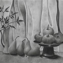 still life of a vase, pears and apples, having curtains at the back , 17 x 12 inch, pankti jain,drawings,fine art drawings,paintings for dining room,ivory sheet,charcoal,17x12inch,GAL030578632