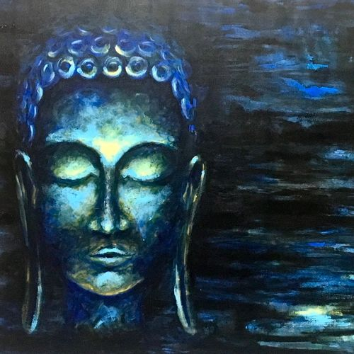 serene blues, 33 x 21 inch, priyanka dutt,paintings for office,buddha paintings,canvas,acrylic color,33x21inch,religious,peace,meditation,meditating,gautam,goutam,buddha,blue,pond,face,GAL08798633