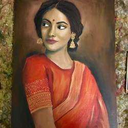 lady, 20 x 30 inch, prachi agrawal,paintings,figurative paintings,paintings for living room,canvas,oil,20x30inch,GAL036828640