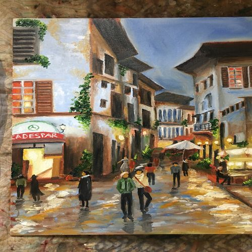 an evening, 20 x 22 inch, prachi agrawal,paintings,cityscape paintings,paintings for living room,canvas,oil,20x22inch,GAL036828641