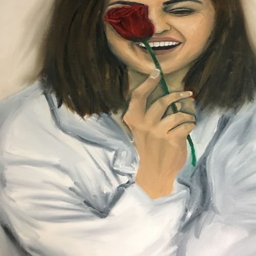 lady with a rose, 25 x 35 inch, prachi agrawal,paintings,figurative paintings,canvas,oil,25x35inch,GAL036828642