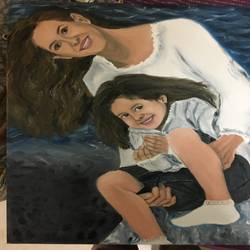 mother daughter , 25 x 30 inch, prachi agrawal,paintings,figurative paintings,paintings for living room,canvas,oil paint,25x30inch,GAL036828644