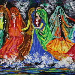 dancing divas, 15 x 12 inch, anupam bhardwaj,paintings,figurative paintings,paintings for living room,thick paper,acrylic color,15x12inch,GAL035498646